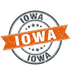 Iowa red round grunge vintage ribbon stamp vector