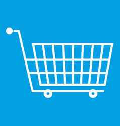 Large empty supermarket cart icon white vector
