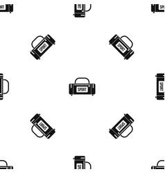 large sports bag pattern seamless black vector image