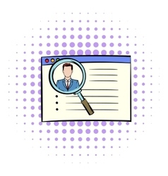 Magnifying glass over curriculum vita icon vector image
