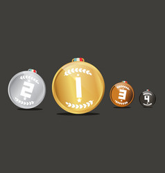 Medals set awards isolated on dark background vector