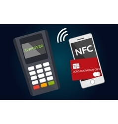 Mobile paying with nfc technology vector