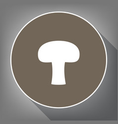 Mushroom simple sign white icon on brown vector