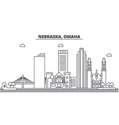 nebraska omaha architecture line skyline vector image vector image