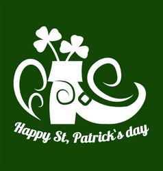 Saint patrick day symbol of leprechaun shoe and vector