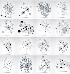 Set of bauhaus abstract backgrounds made with grid vector