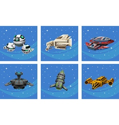 Spaceships floating in the space vector image vector image