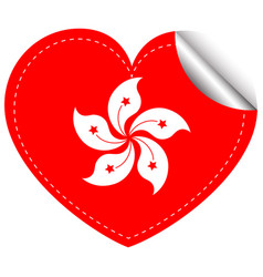 sticker design for hongkong flag in heart shape vector image