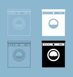 Washing machine the black and white color icon vector