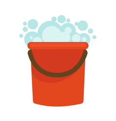 Water bucket with soap foam home clean vector
