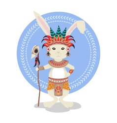 Rabbit or bunny shaman feathers ceremonial clothes vector