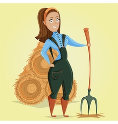 cartoon farmer girl character vector image