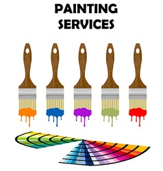 Painting tools and color samples vector