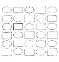 Hand drawn doodle round and square picture vector