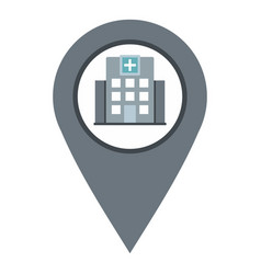 gray map pointer with symbol hospital icon vector image