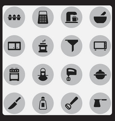 Set of 16 editable cooking icons includes symbols vector