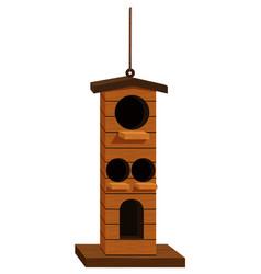 Birdhouse with four holes vector