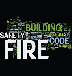 Fire safety under the fire code text background vector