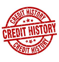 Credit history round red grunge stamp vector