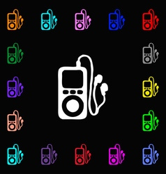 Mp3 player headphones music icon sign lots of vector