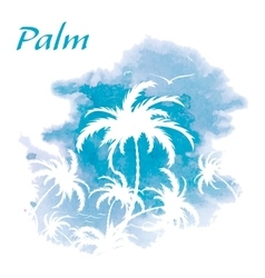 Palm trees watercolor background vector