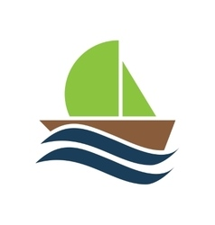 Flat icon on white background boat sailboat vector