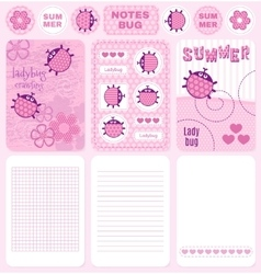 Cards and notes ladybug set vector