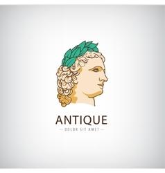antique greek head logo icon isolated vector image
