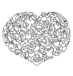Coloring page with heart from black white angels vector