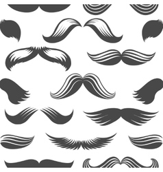 Black and white moustaches seamless pattern vector