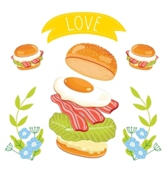 Hamburger ingredients on white background vector