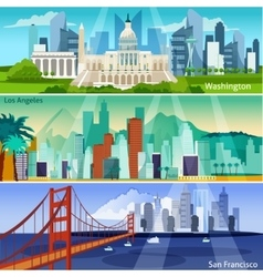 American cityscapes banners set vector