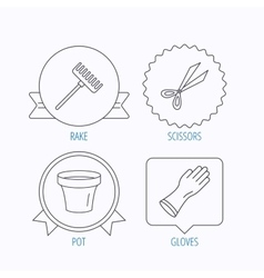 Gloves scissors and pot icons vector