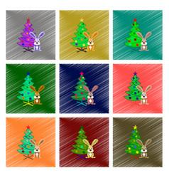 assembly flat shading style christmas tree rabbit vector image