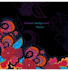 Black background with bright flowers vector image vector image