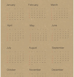 Calendar 2015 on paper recycled vector