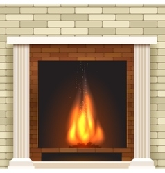 Classic fireplace icon vector