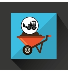 construction truck concept wheelbarrow design vector image