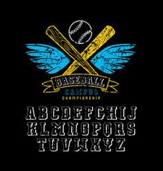 Decorative serif font and baseball emblem vector