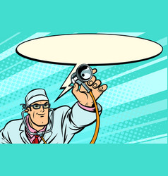 Doctor physician with stethoscope says comic cloud vector