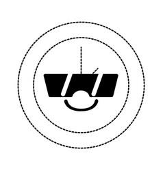 Dotted shape happy circle clock kawaii with vector