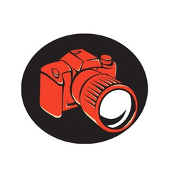 Dslr digital camera front retro vector