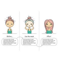 Facial treatment three steps instruction girl vector