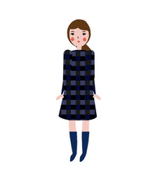Fashionable female in plaid dress girl in trendy vector