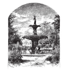 Fountain purely functional vintage engraving vector