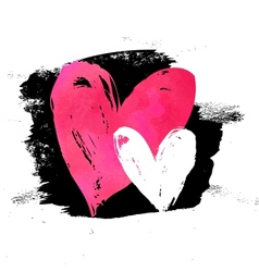Grunge card with hand painted hearts vector