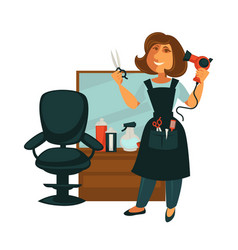 Hairdresser woman in hair beauty salon with vector