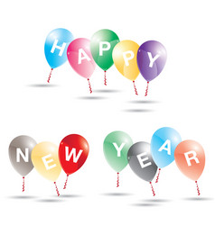 happy new year to multicolored balloons on white vector image vector image