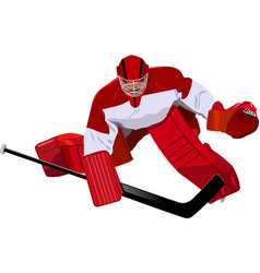 hockey goalkeeper in the game vector image
