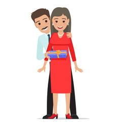 husband makes his wife present cartoon people vector image